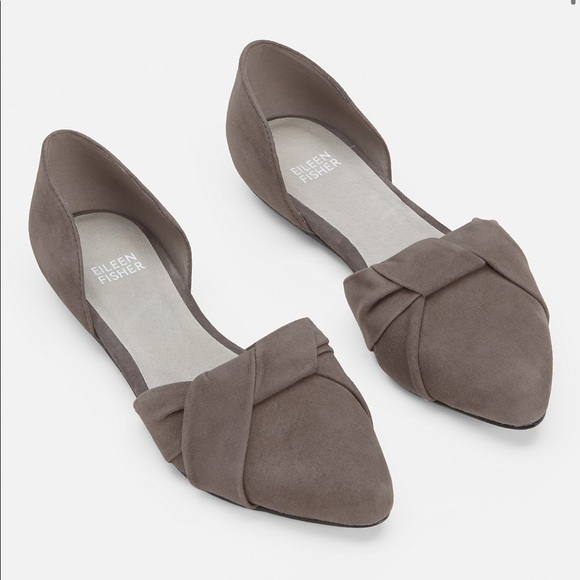 Eileen Fisher Fuller Suede D'Orsay Flats Gray 8